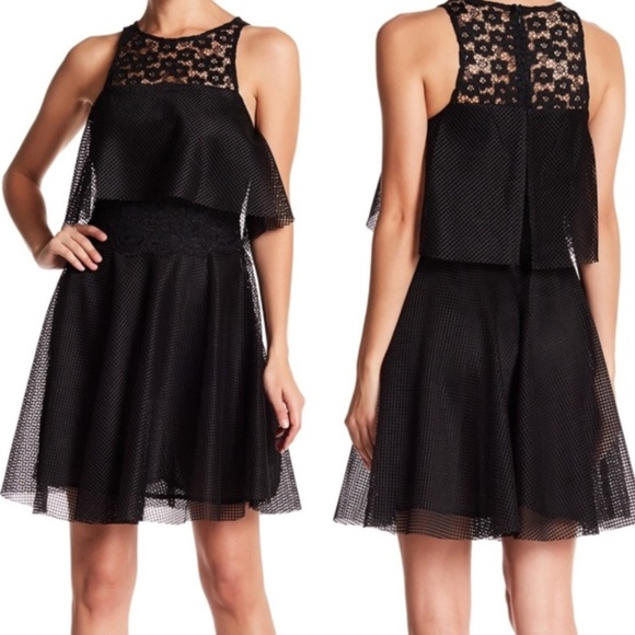 Betsey Johnson Dresses & Skirts - NWT Betsey Johnson Black Lace Mesh Fit Flare Dress